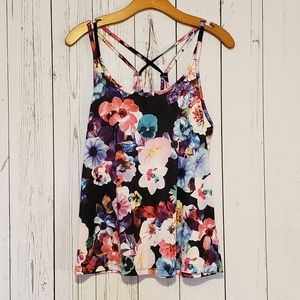 Old Navy Active Floral Strappy Back Tank Top